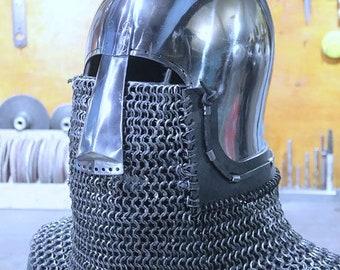 Medieval Helmet with a Nose, Helmet-Medieval Buhurt, Head Protection, Full Contact Helmet, Knight's Helmet, SCA Helmet, HMB-IMCF Helmet