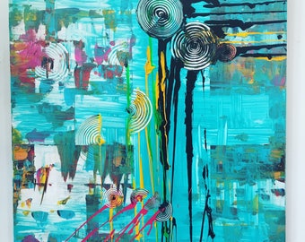 Beautiful abstract collage of mixed media on canvas