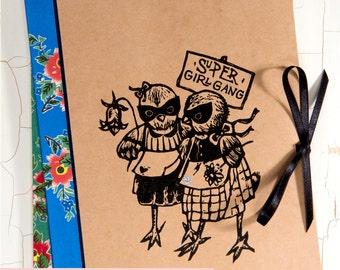 CAHIER d'Amitié/ Cahier poussin/ super poules/ cadeau pour meilleure amie/ meilleurs amis/ linogravure originale/ cahier vintage