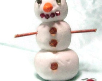Clay Snowman Ornament, Painted Clay Ornament, Clay and bead Ornament