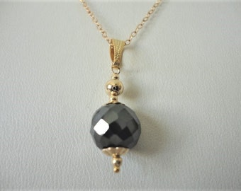 7 Ct Black Diamond Solitaire 14k gold filled with chain,diamond necklace, diamond beads necklace, anniversary gift for wife diamond jewelry