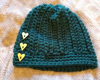 Chunky Crochet Ribbed Button Beanie