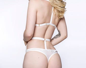 CANDY high waisted harness thong / cage g-string in layered sheer see through white mesh, handmade lingerie - ethical clothing to order