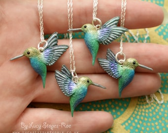 Hand-Sculpted Hummingbird Pendant with Chain