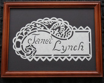 Custom Names - Words - Quotes - Scherenschnitte - Hand Paper Cutting Art signed and dated By Janet Lynch - Framed