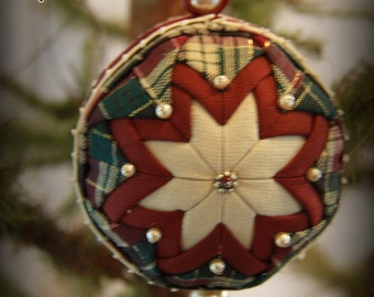 Handmade Quilted & Beaded Christmas Ball Ornament Green Burgundy