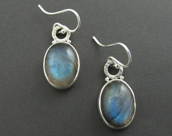Oval Labradorite Earrings, Bold Statement Earrings, Colorful Dangle Earrings, Blue Stone Drop Earrings, Hammered Silver Earrings