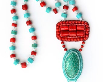 "Necklace ""Red & turquoise splash"""