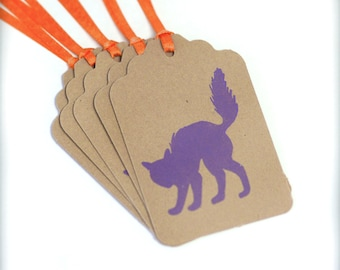 Cat Halloween Tag Handmade 6 Tags Blank trick or treat tag purple