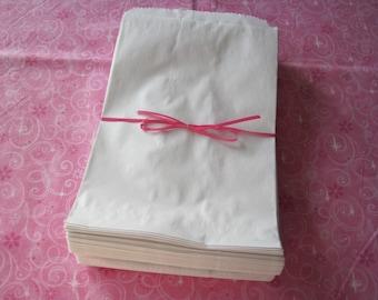 50 White Paper Bags, Paper Bags, Gift Bags, Kraft Paper Bags, Candy Bags, Party Favor Bags, Paper Gift Bags, Retail Merchandise Bags 6x9