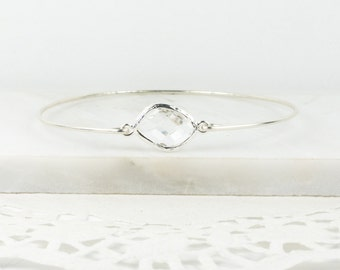 Crystal Sterling Silver Bracelet, April Birthstone Sterling Silver Bangle , Crystal Bracelet, April Birthday Jewelry, Bridesmaid Jewelry