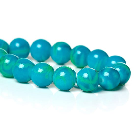 Set of 10 glass beads - turquoise - 8 mm