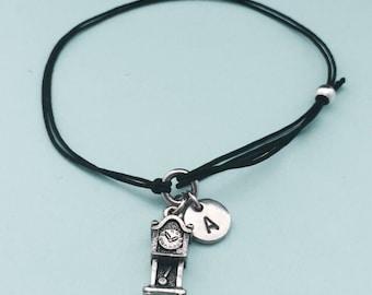 Grandfather clock cord bracelet, grandfather clock charm bracelet, adjustable bracelet, charm bracelet, personalized, initial, monogram