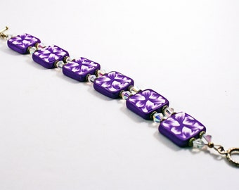 Purple and White Polymer clay Bracelet