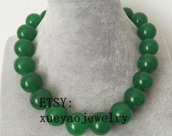 jade necklace ,huge 20 mm green jade necklace