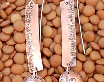 Textured Copper Heart Dangle earrings