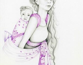 Baby Wearing Mom Custom Portrait for Mom from Photo Babywearing Portrait Baby Carrier Woven Wrap New Mom Gift Mom Art Nursery Decor Baby Art