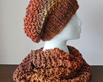 Hand Knit Multicolored Slouchy Hat, Hand Knit Multicolored Beret in Rust, Brown and Gold