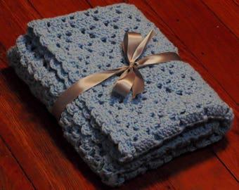 Blue blanket, baby gifts, baby blanket, baby blue blanket, crochet blanket, blue baby blanket, boy gifts, receiving blanket, nursery blanket