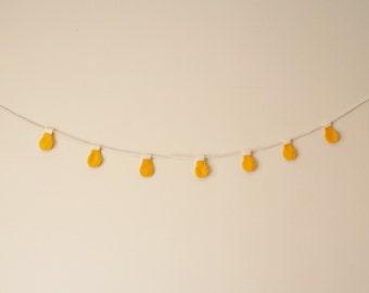 Yellow Light Bulbs Felt Garland (White String)