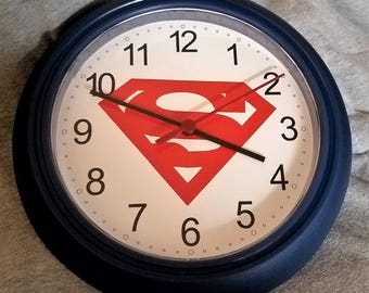 Clock with Superman Logo DC Comics Superhero The Man of Steel Last Son of Krypton