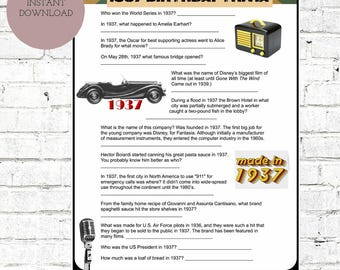 1937 Birthday Trivia Game-| 80TH Birthday Party Trivia | Instant Download