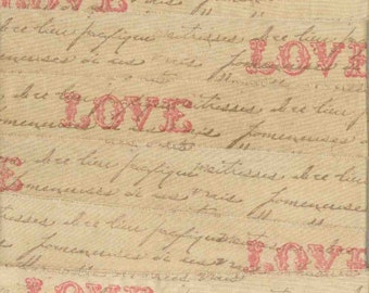 LOVE French script tea dyed handmade  rubber stamped muslin fabric ribbon  ... 635 . ....oohlala