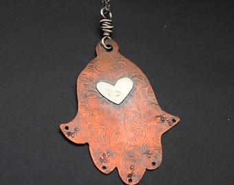 Copper Hamsa Pendant with Sterling Silver Heart