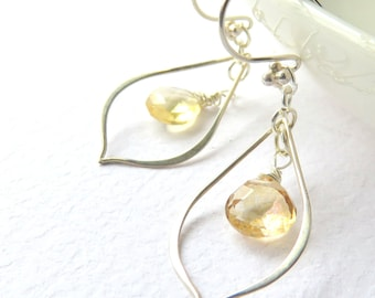 Yellow Quartz Earrings,  Long Dangle Earrings, Modern Oval Hoops with Gemstones, Wire Wrapped Quartz, Pastel Yellow, Special Occasion Gift