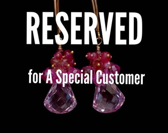 Reserved For C.  Pink Topaz Gemstone Cluster Pink Spinel Apatite Teal Quartz Aquamarine Earrings Bridal Earrings Wedding Jewelry
