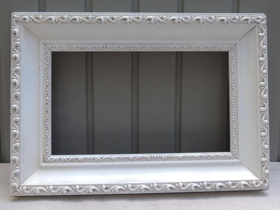 Vintage White Picture Frames 6x10 Long Frame White Wood