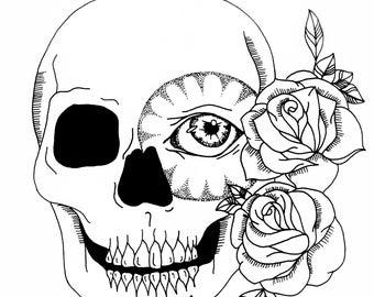 Sugar Skull & Roses Print