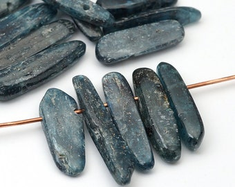15 pcs top drilled kyanite beads, dark blue and silver semiprecious stone, average size 20mm