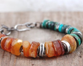amber turquoise silver bracelet