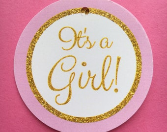 Pink and Gold / Its a Girl / Baby Shower Favor Tags / set of 12