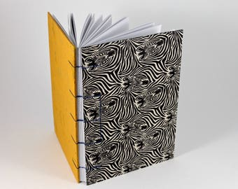 Zebra Print Hand bound Hardcover Coptic Journal Sketchbook Notebook - acid free sketch paper