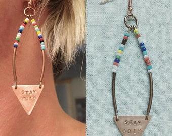 Stay Gold Triangle beaded earrings