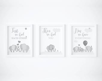 First We Had Each Other Elephant, elephant nursery print, elephant nursery art, grey nursery decor, grey nursery prints, gray nursery prints