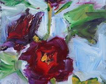 """Hollyhocks, original oil painting, miniature oil painting, abstract impressionistic expressionistic painting by puci, 5x5"""""""