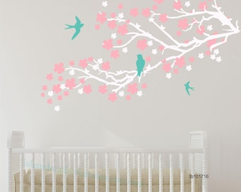 cherry blossom wall decal  nursery wall decal  flower wall decal tree wall decal nursery cherry blossom tree