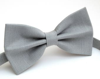 Gray color, linen bow tie, wedding necktie, linen necktie,  groomsmen necktie,  necktie, bow tie for men