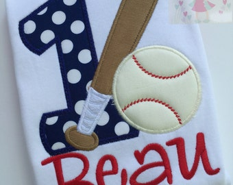 Baseball Theme Birthday Shirt -- birthday shirt with number, baseball and bat and personalized with name in red and navy blue