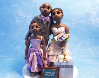Custom Ethnic  Bride and Groom with Children  Wedding Cake Topper,cake topper, personalized cake topper, Mr and Mrs cake topper