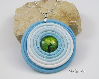 Amulet Tree Blue White Green