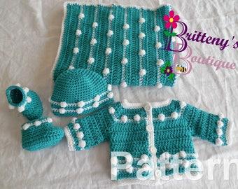 Deluxe Layette Crochet Pattern Baby Cardigan Crochet Pattern Baby Blanket Crochet Pattern Sweater and Blanket Crochet Pattern Pack