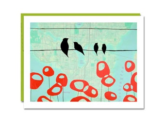 Seattle Card with Family of Birds over Modern Poppies // Lake Union Map