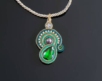 Green-gold soutache pendant