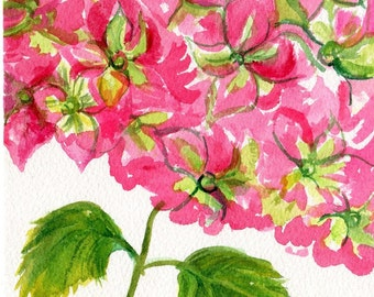 Hydrangeas Original Watercolor Painting , Pink and Green hydrangeas