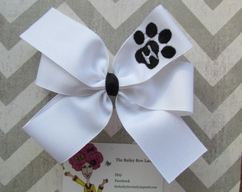 Monogrammed Paw Hair Bow