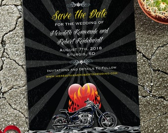 Burning Love Biker Motorcycle Save the Date Flat Card or Postcard, Printable, Evite or Printed (US Only) Announcements